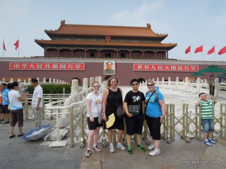 Tiananmen square. Taylor Meyer. myself, Alison Chang and Lyndall Hulley. In 35 degrees.. Not easy being a Norwegian on this country..