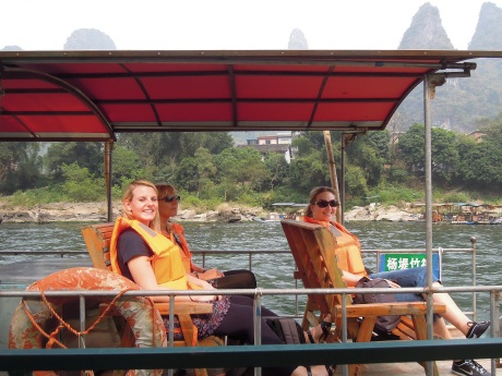 In the boat, Li River. With Ina Kaplan and her mother Doris. Photo by Alison Chang