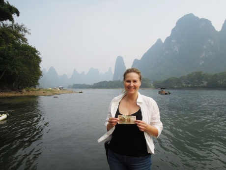 The mountains behind me is pictured on the 20 Yuan bill:) Photo by Alison Chang